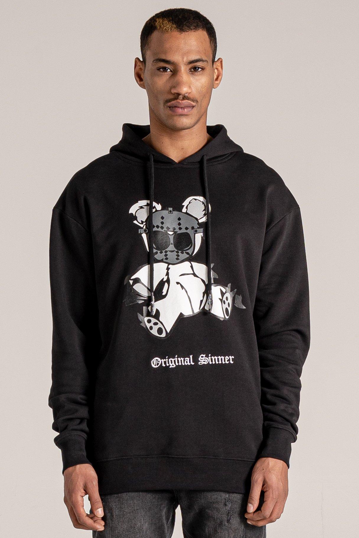Bear Print Printed Men's Hoodie - Black, Medium