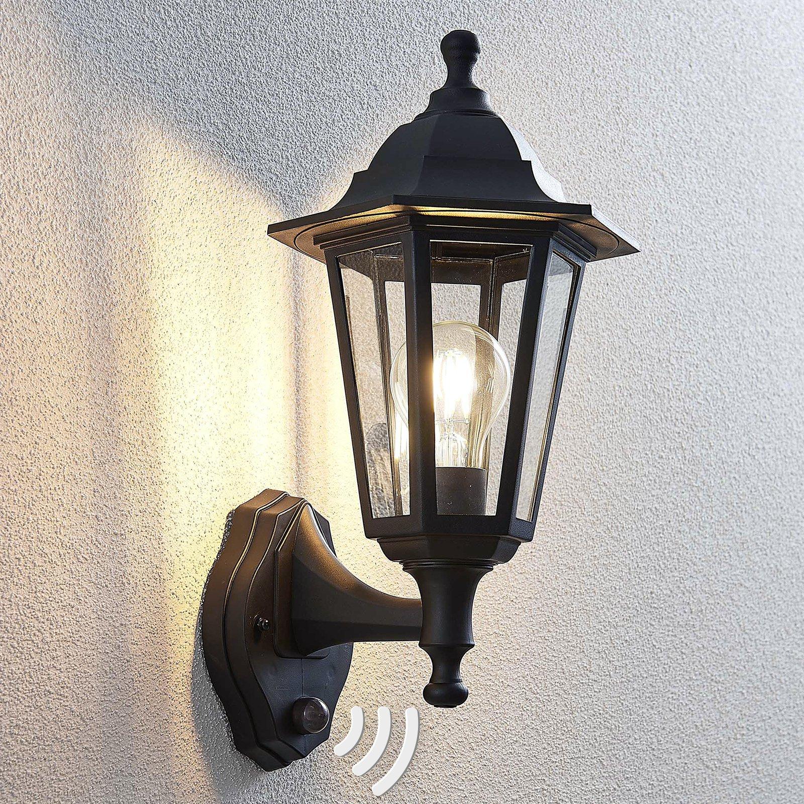 Utevegglampe Nane lyktlignende form med sensor