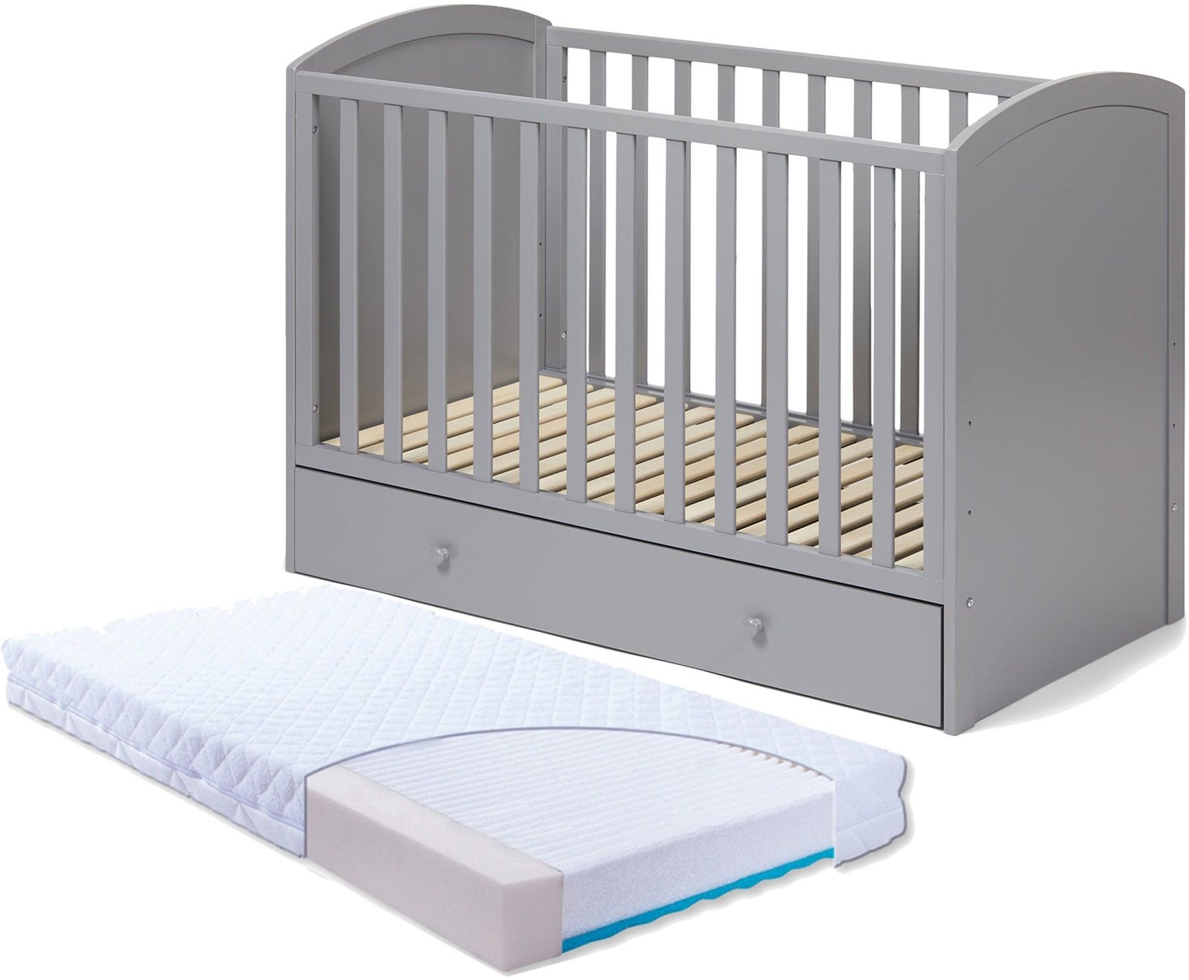 JLY Lux Pinnasänky Laatikoilla, Harmaa & BabyMatex Patja