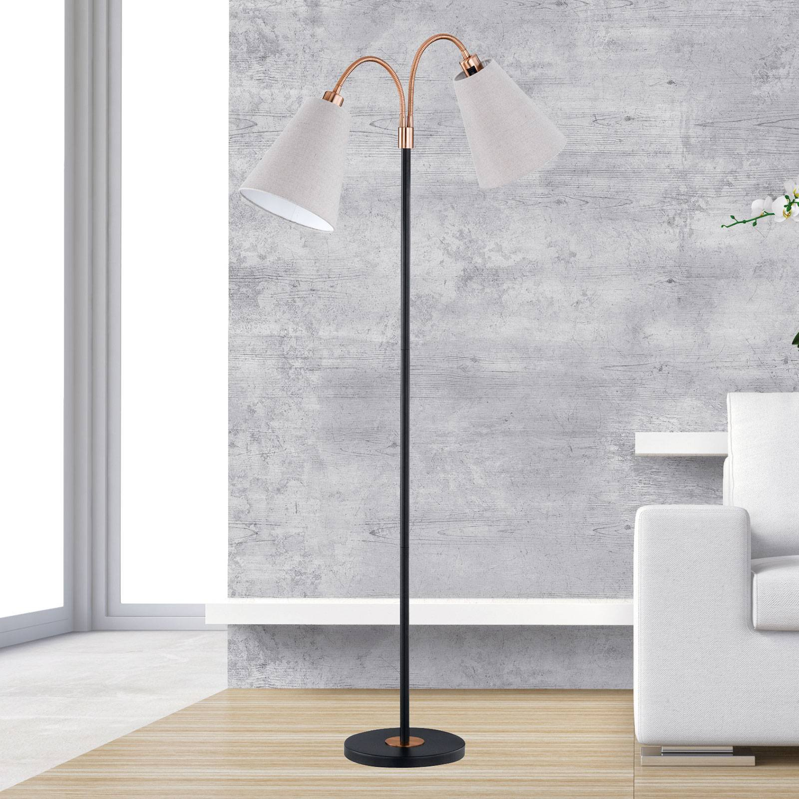 Topunkts stålampe Hopper svart-bronse