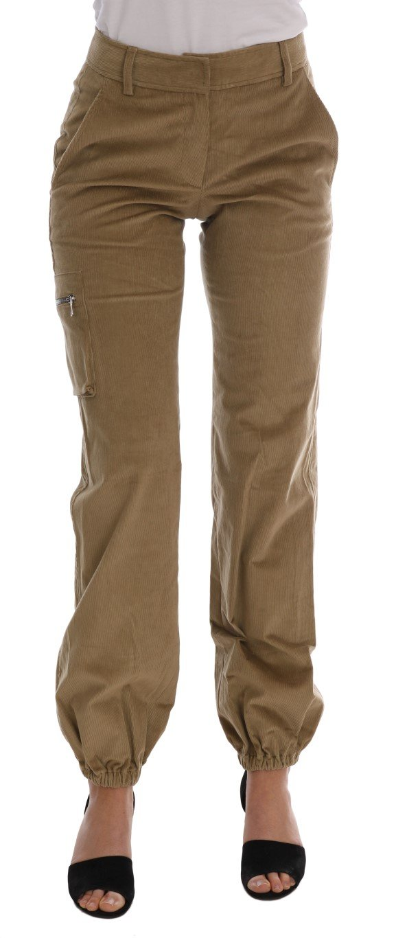 Ermanno Scervino Women's Corduroys Trouser Beige BYX1156 - IT38|XS