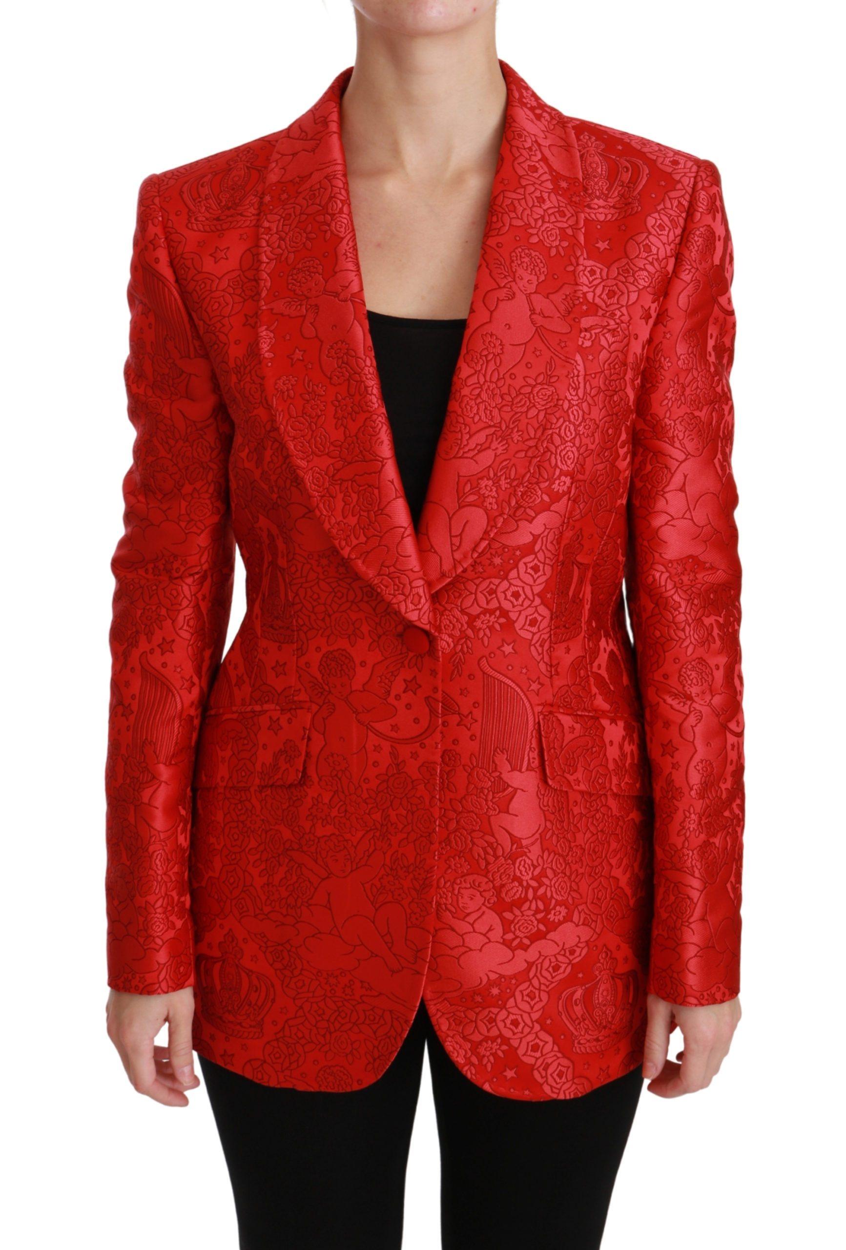 Dolce & Gabbana Women's Floral Angel Blazer Coat Jacket Red JKT2563 - IT46 | L