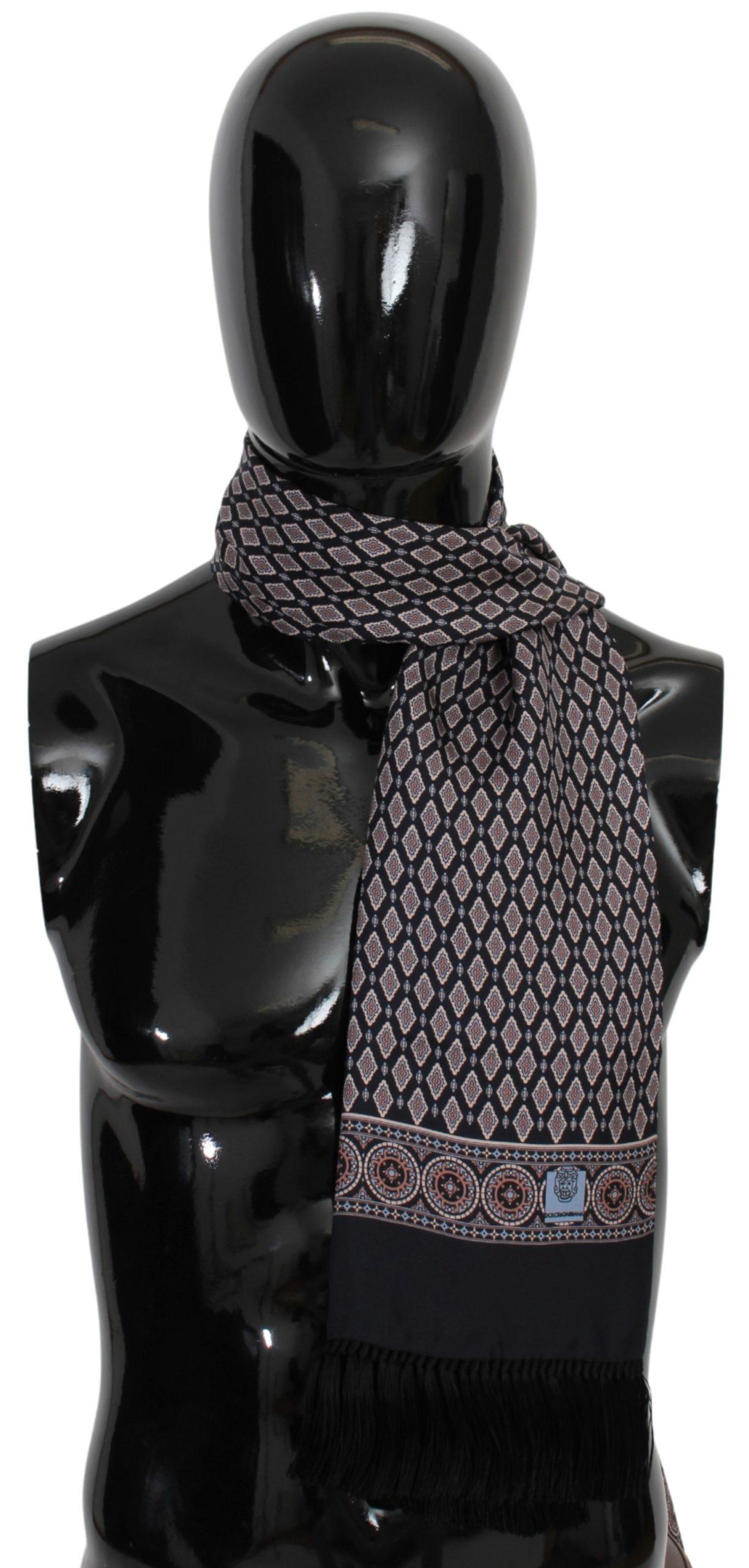 Dolce & Gabbana Men's Fringe Neck Wrap Scarf Blue MS1671