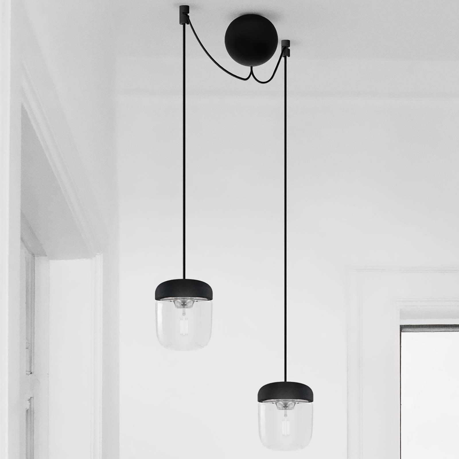 Riippuvalaisin Acorn, 2 lamppua, musta ja teräs