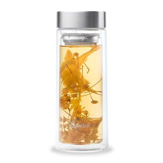 Qwetch Dubbelväggad Glasflaska med Teinsats, 320 ml