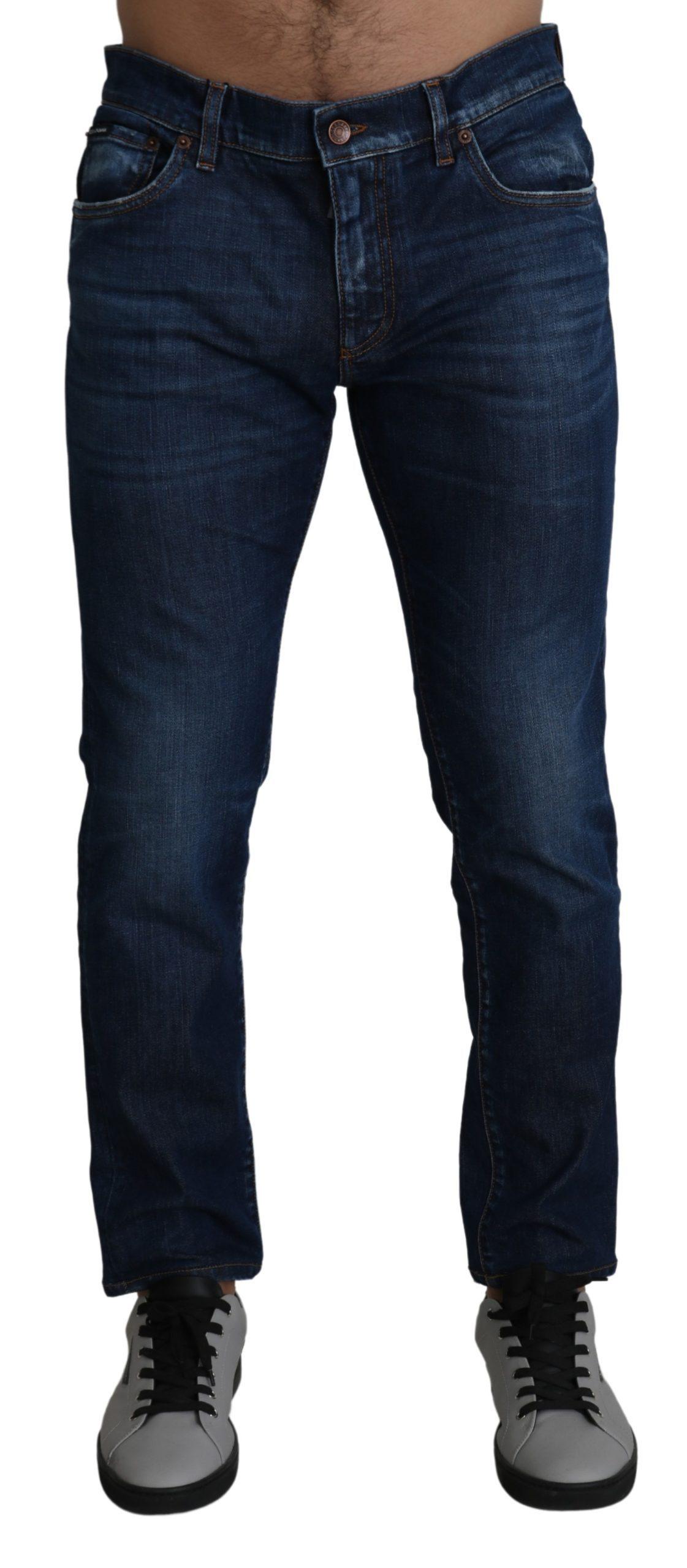 Dolce & Gabbana Men's Washed Skinny Denim Stretch Jeans Blue PAN71401 - IT52   XL