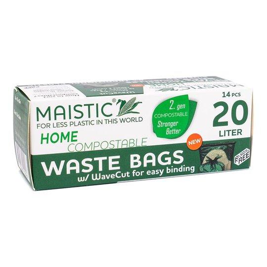 Maistic Komposterbar Avfallspåse med WaveCut - 20 L, 14-pack