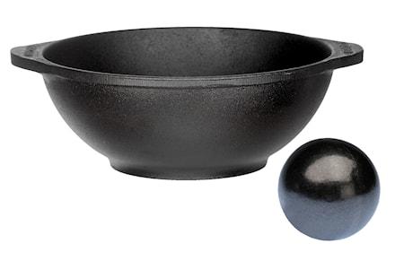 Senapskula 8 cm med tillhörande gjutjärnsskål 21cm