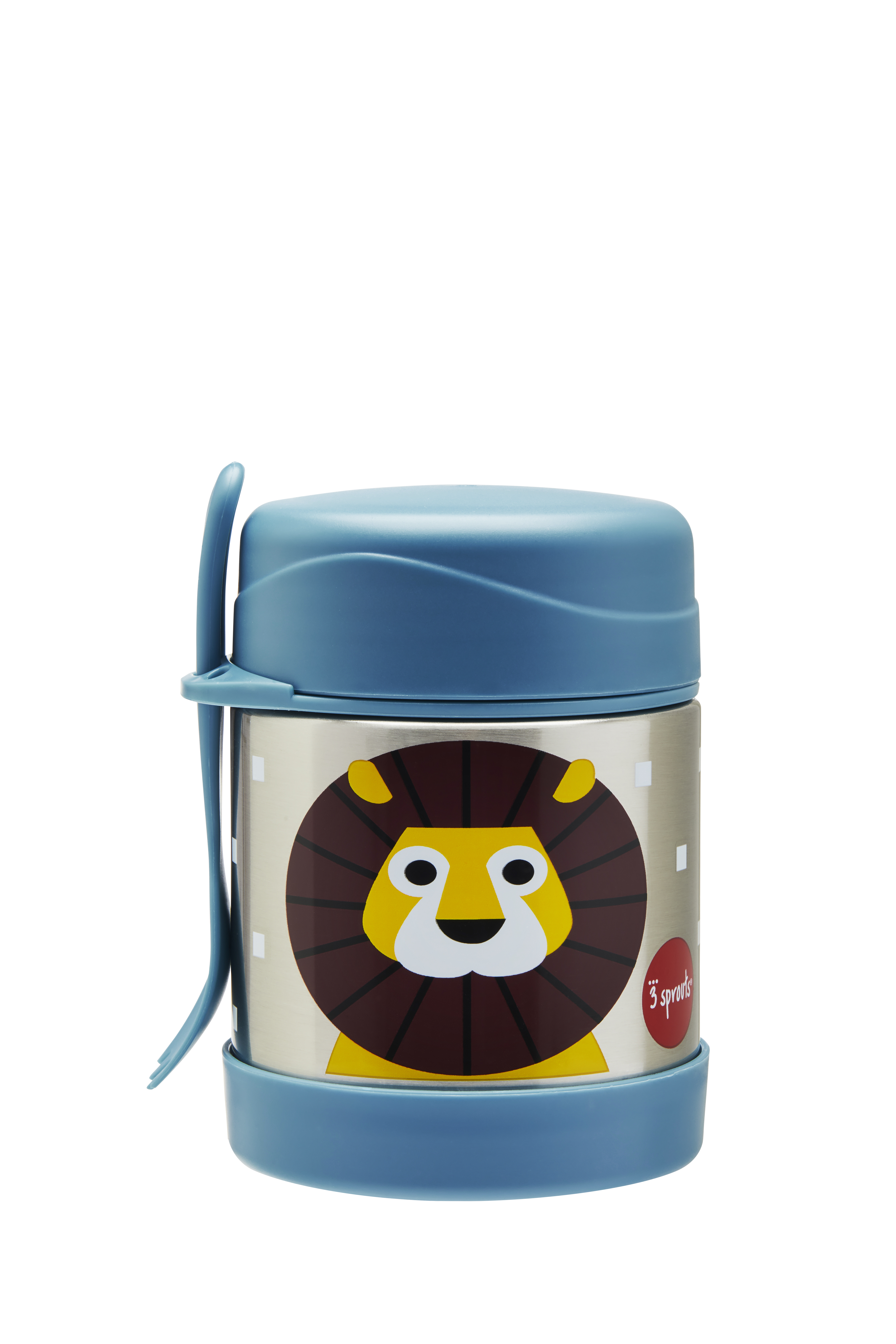 3 Sprouts - Stainless Steel Food Jar and Spork - Blue Lion