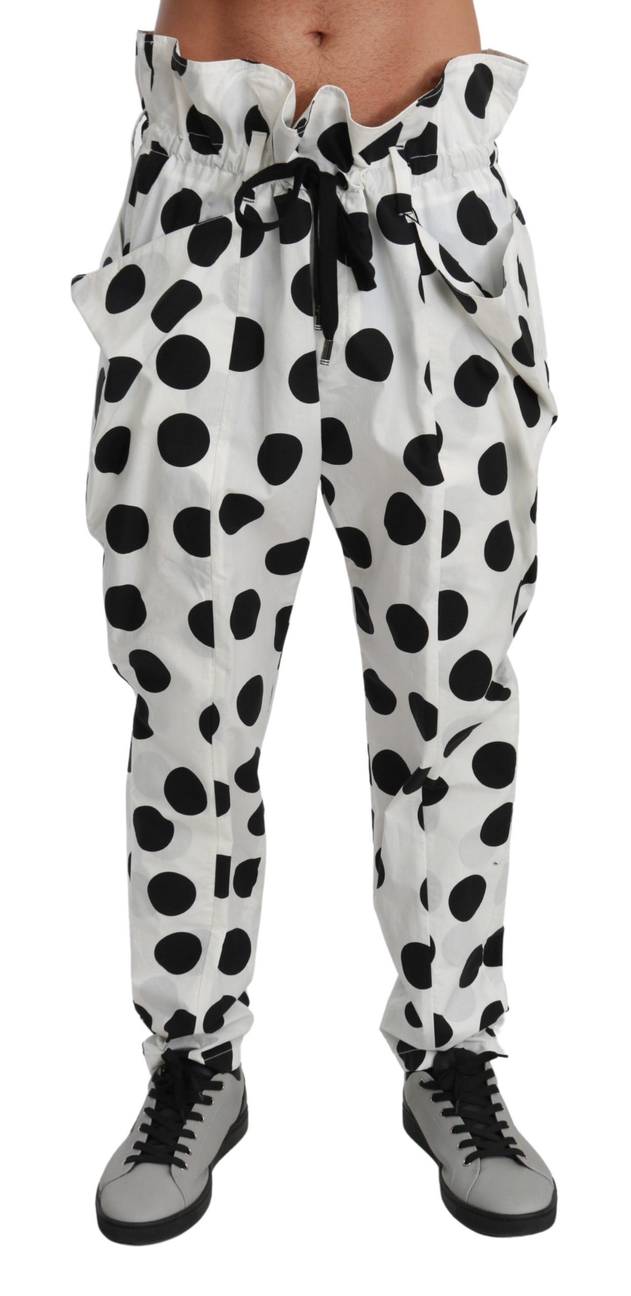 Dolce & Gabbana Men's Polka Dots Jodhpur Cotton Trouser White PAN71025 - IT48   M