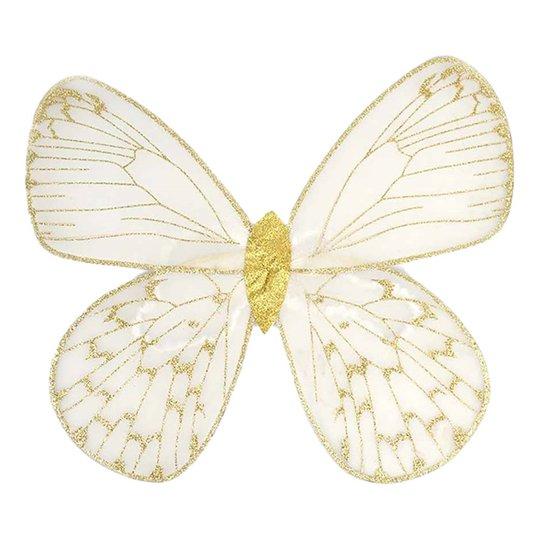 Fjärilsvingar Vit/Guld Barn - One size