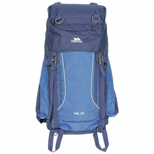 Trespass Unisex Camping Backpack Various Colours Trek - Electric Blue 33 Litre
