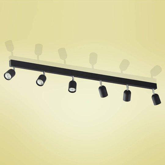 Top takspot, 6 lyskilder, lang, svart