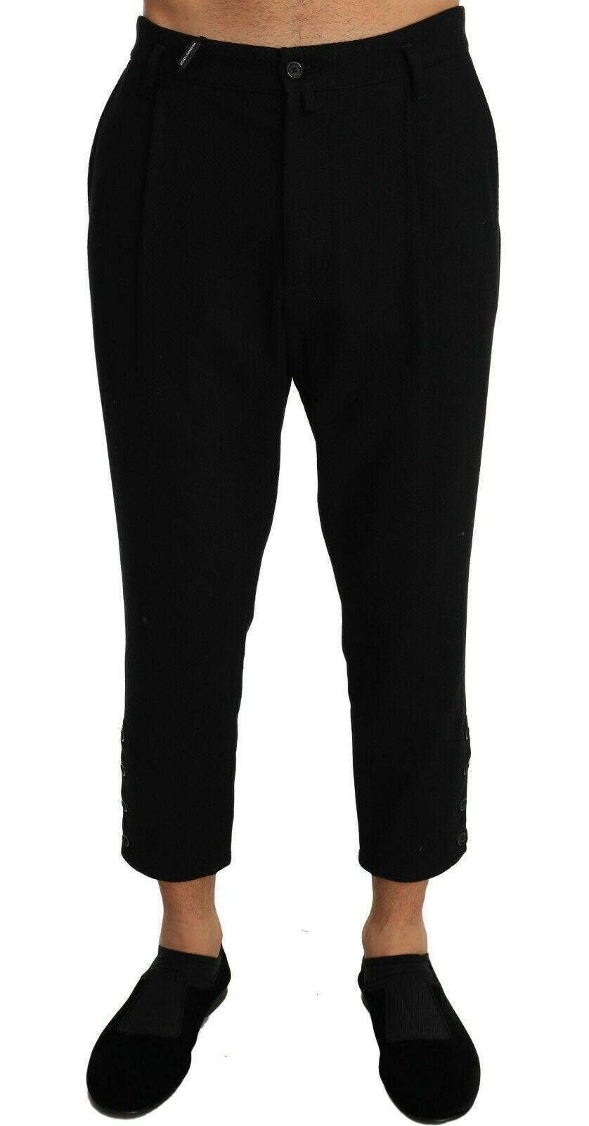 Dolce & Gabbana Men's Cotton Stretch Cropped Trouser Black PAN60920 - W36