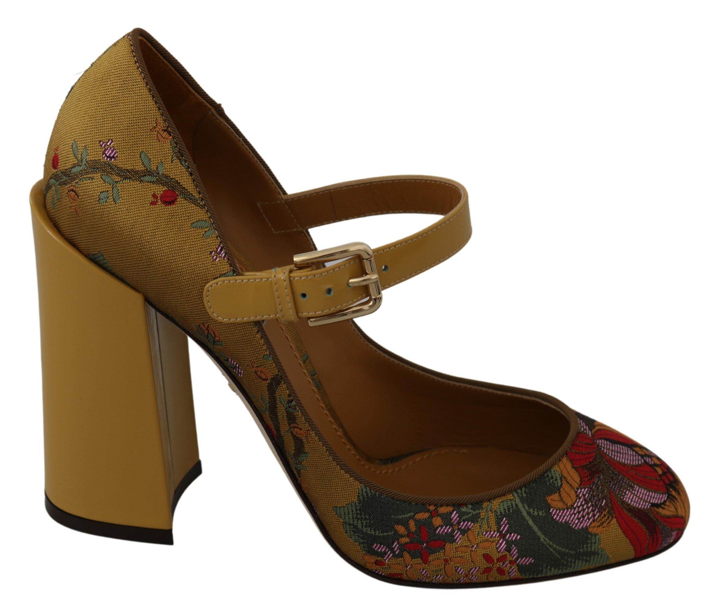 Dolce & Gabbana Women's Mary Janes Leather Pumps Yellow LA7334 - EU39/US8.5
