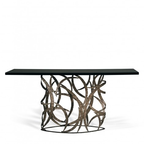 Porta Romana I Elliptical Miro Console Table BURNT SILVER WITH BLACK LACQUER TOP