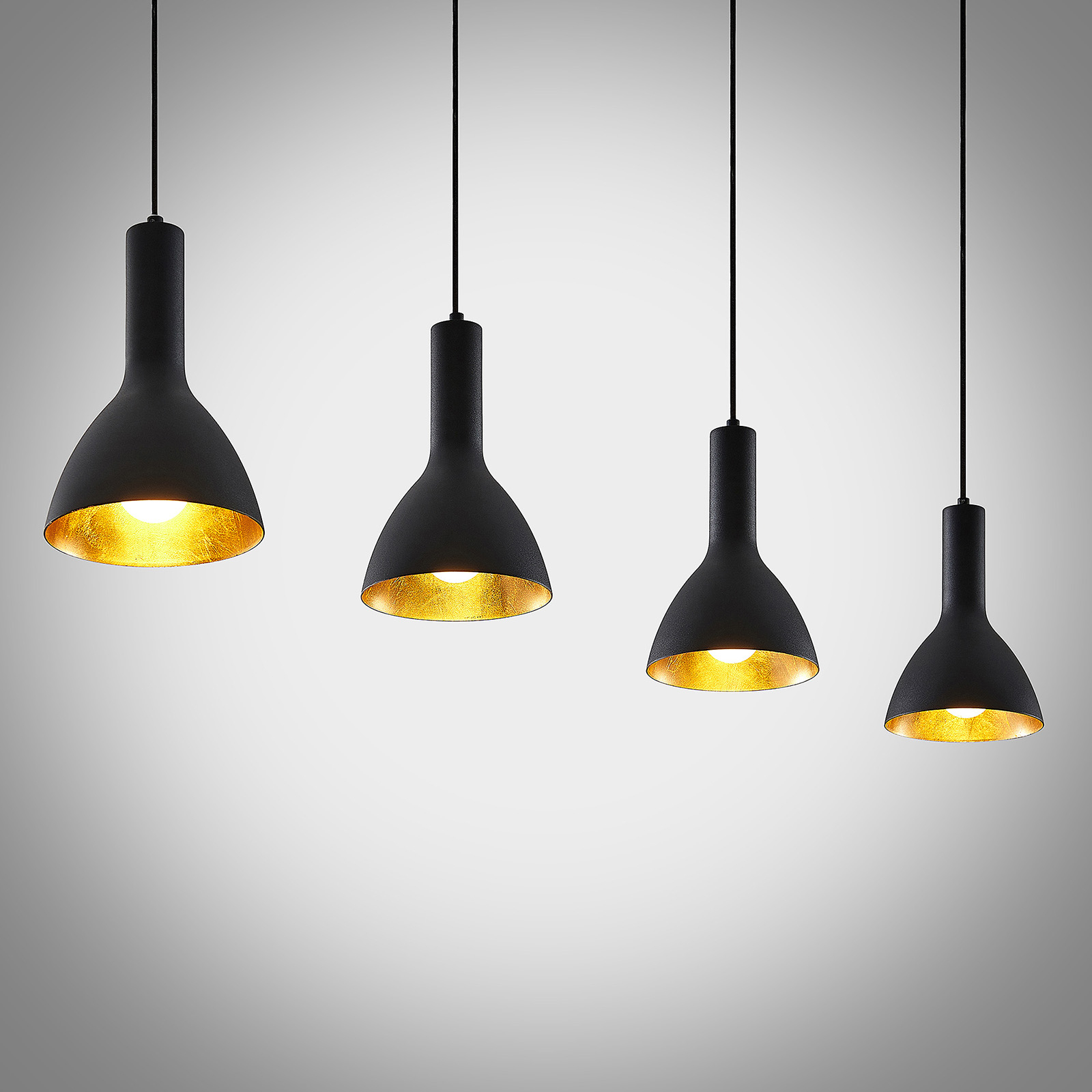 Arcchio Cosmina -riippuvalo, 4-lamp., musta