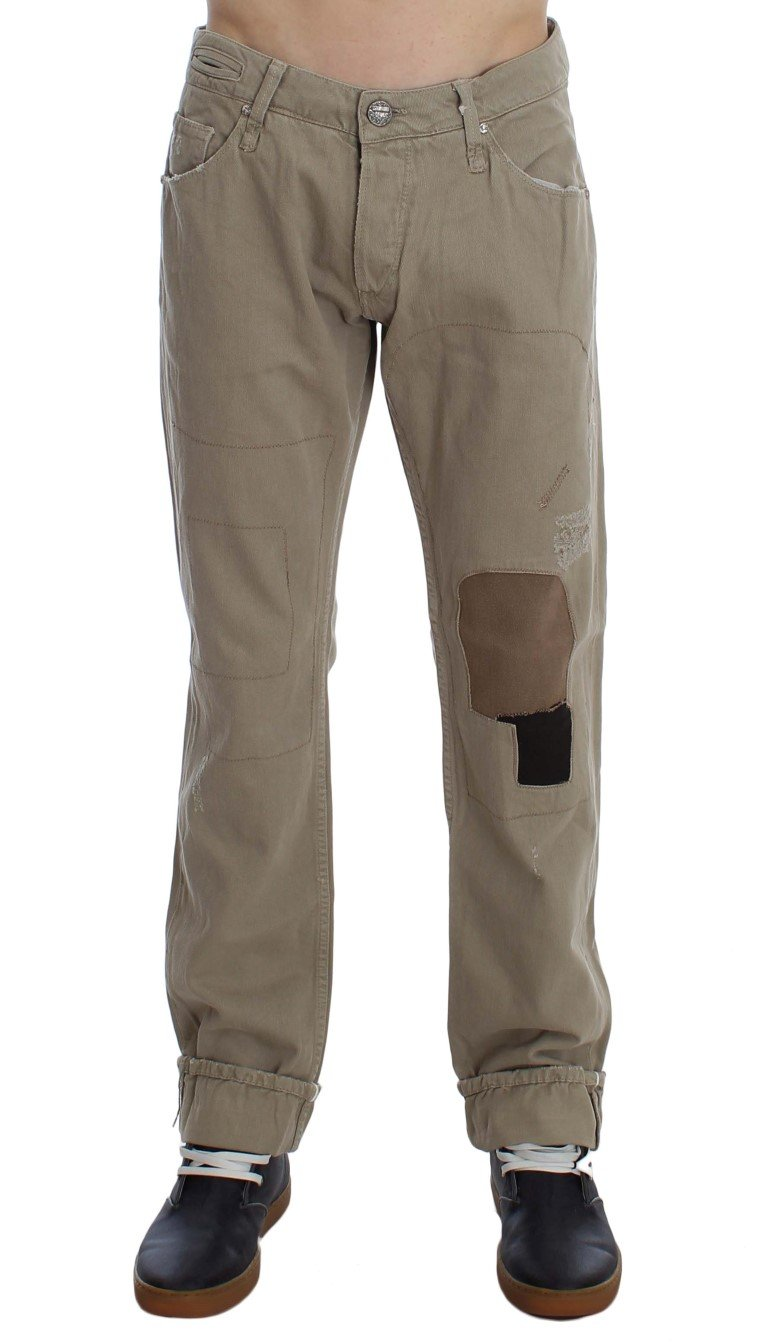 ACHT Men's Cotton Patchwork Jeans Beige SIG30450 - W34