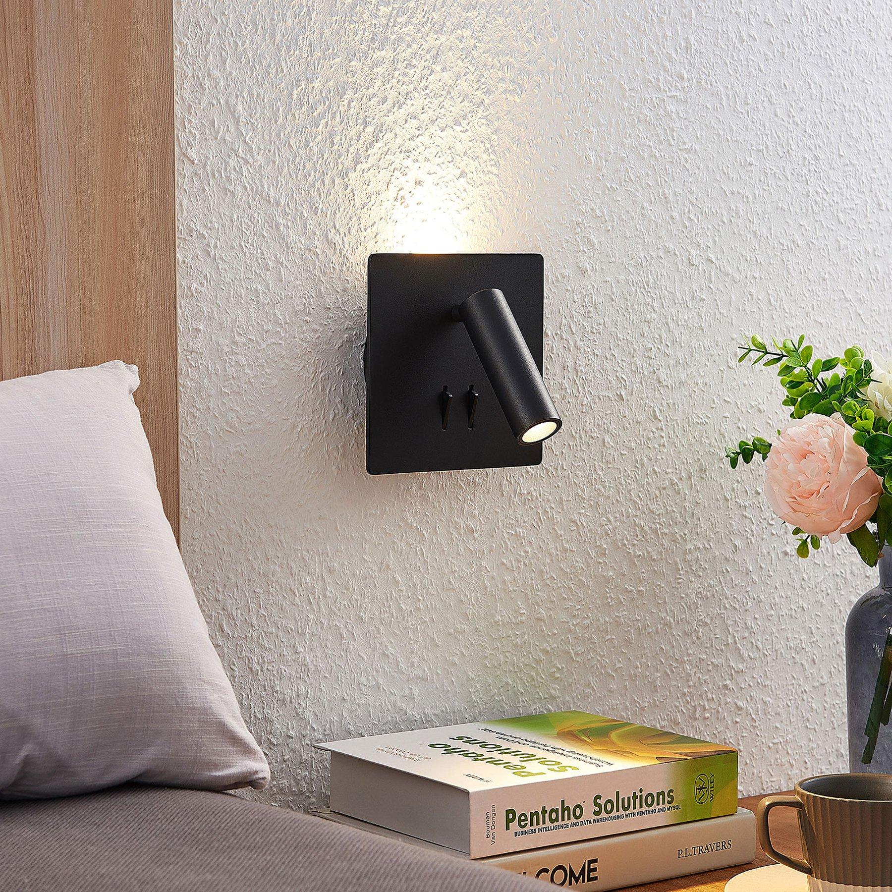 Lucande Magya LED-vegglampe svart 2 lysk. kvadrat.
