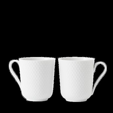 Rhombe Krus med Håndtak 33 cl Hvit Porselen 2-Pack