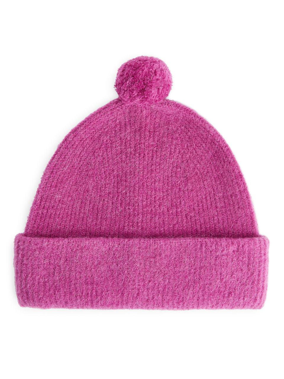 Alpaca Merino Pompom Beanie - Pink