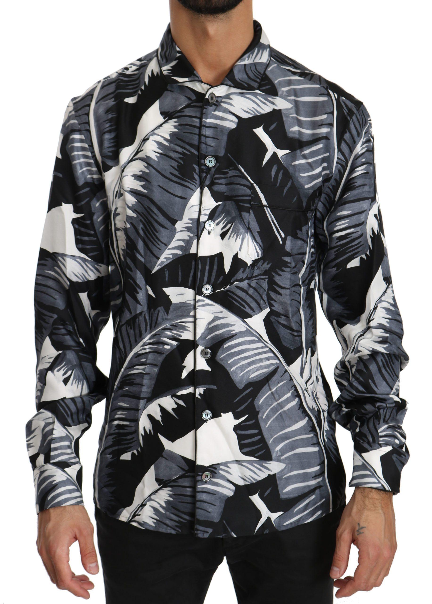 Dolce & Gabbana Men's Banana Leaves Silk Shirt Black TSH4010 - IT38 | XS