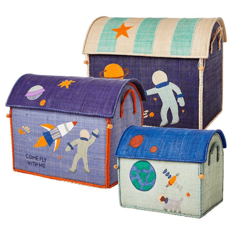 Rice - Large Set of 3 Toy Baskets - Space Theme