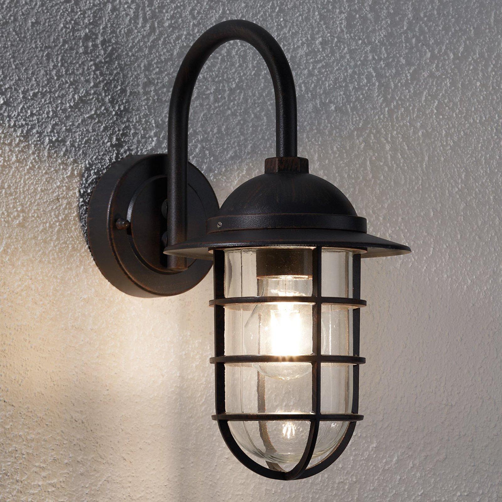 Utevegglampe Gero med buet utligger