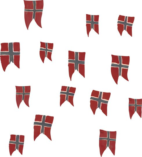 Wallsticker Norsk Flagg 14 stk