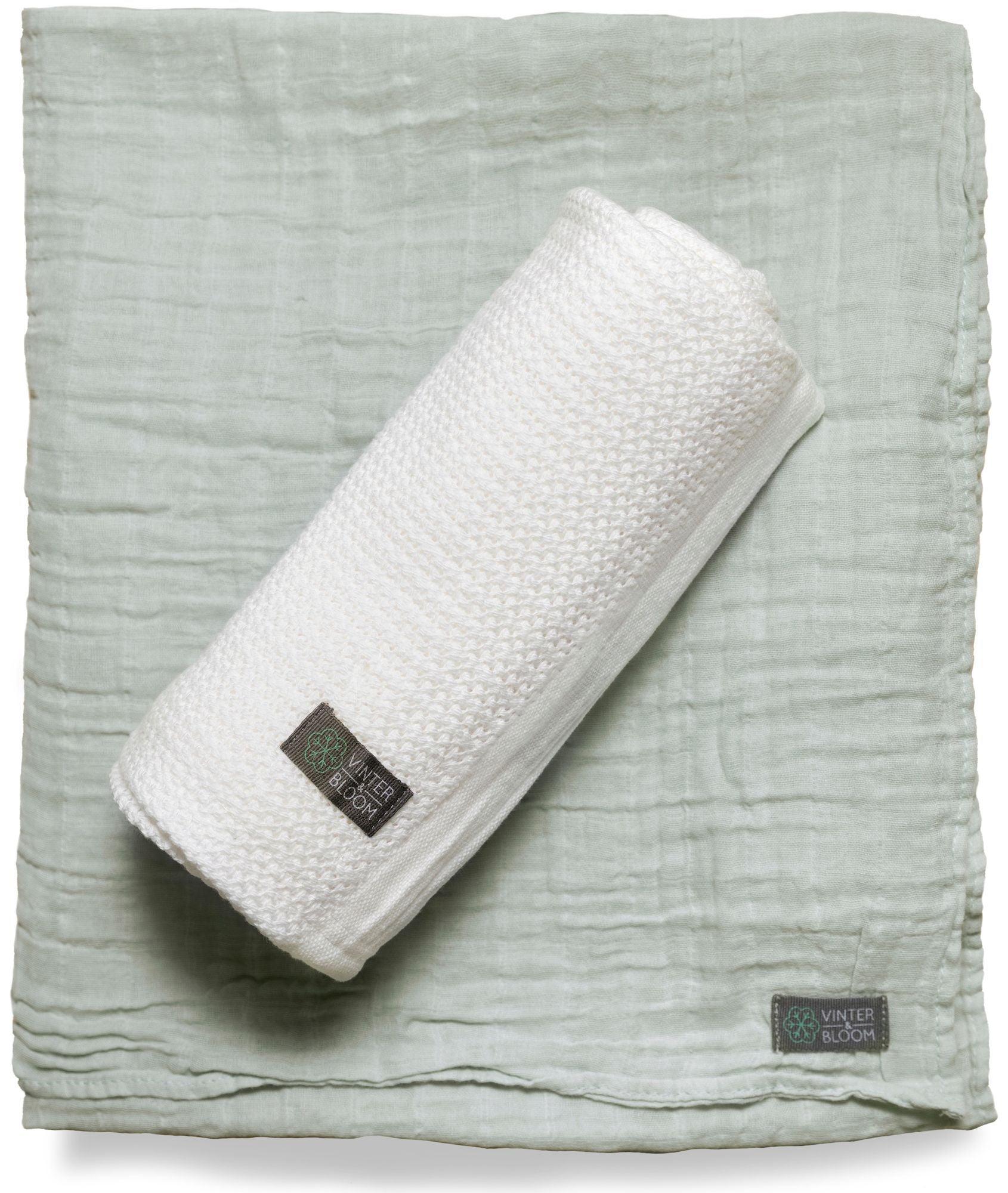 Vinter & Bloom Soft Grid + Filt EKO, Vit/Grön