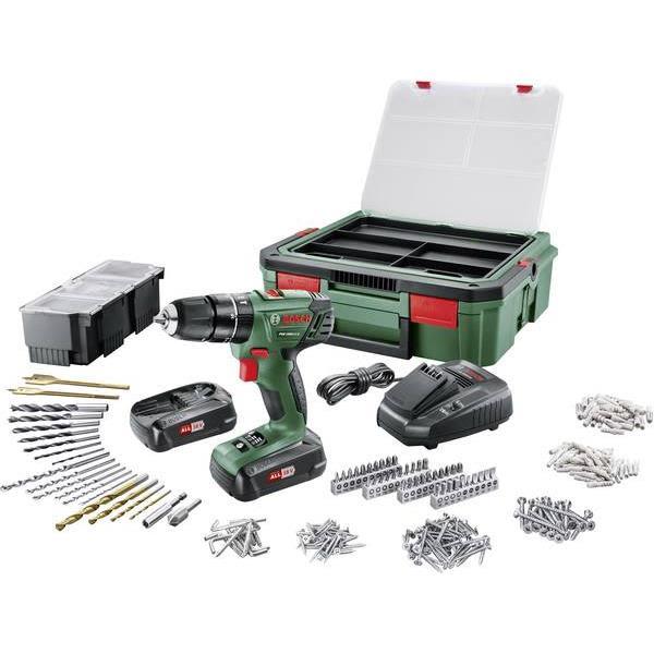 Bosch DIY PSR 1800 LI-2 + SystemBox Borskrutrekker med tilbehørssett, batterier og ladere