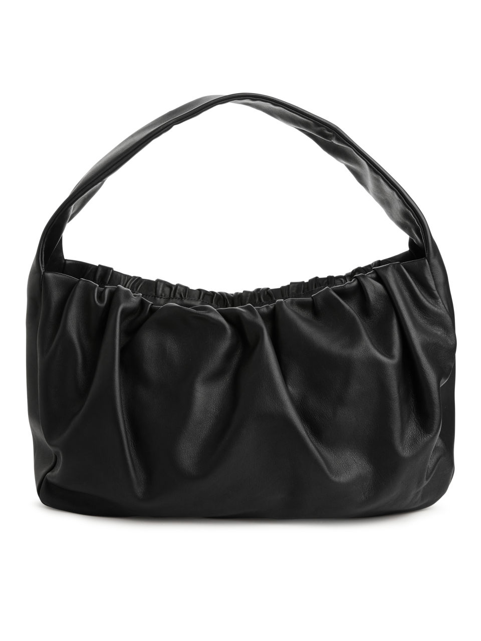 Gathered Leather Shoulder Bag - Black