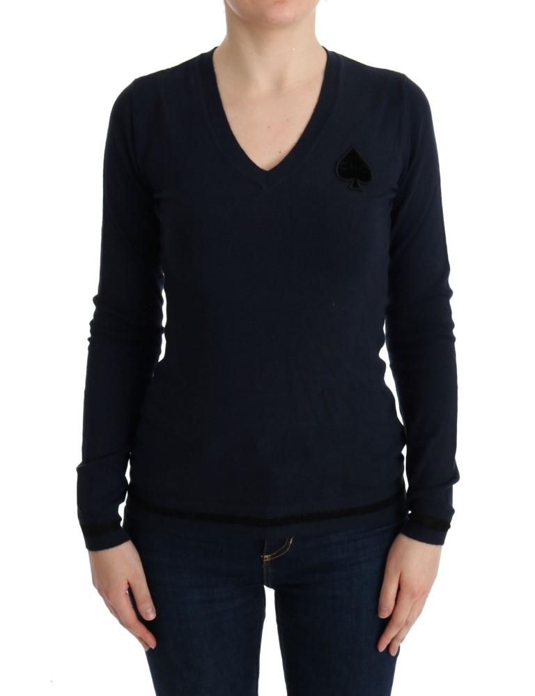 Costume National Women's V-neck Viscose Sweater Blue TUI10018 - S
