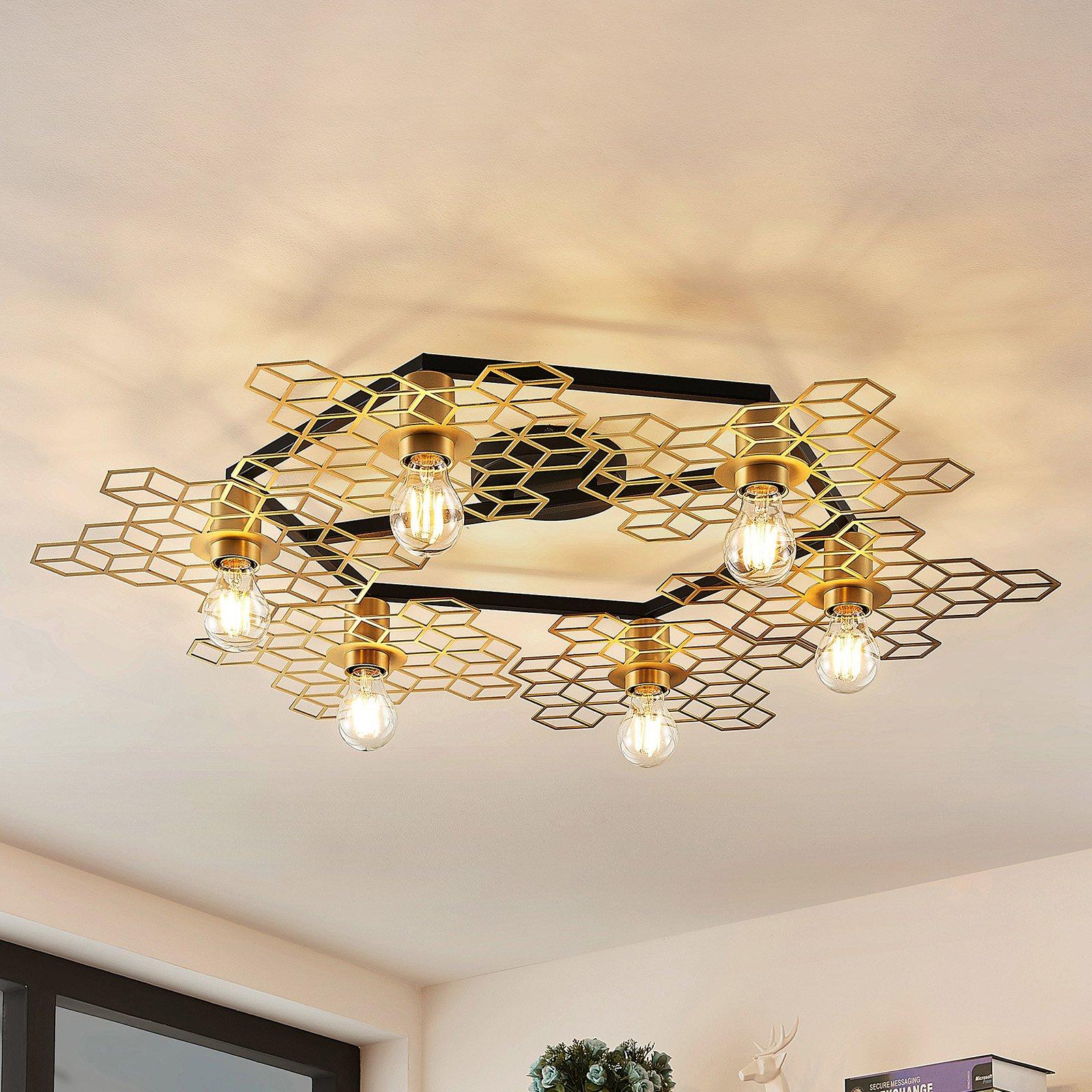 Lucande Alexaru taklampe, 6 lys, gull, rund