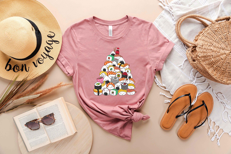 Sushi Lover Apparel - Anime Foodie Clothing Cartoon Food T-Shirt Japanese Tee Ramen Mom Tshirt Aesthetic Shirt