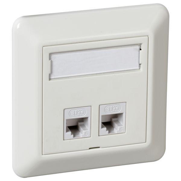 Elko UTP C6 TL Modulaarinen pistorasia upotettava, valkoinen 2 x 8 C6