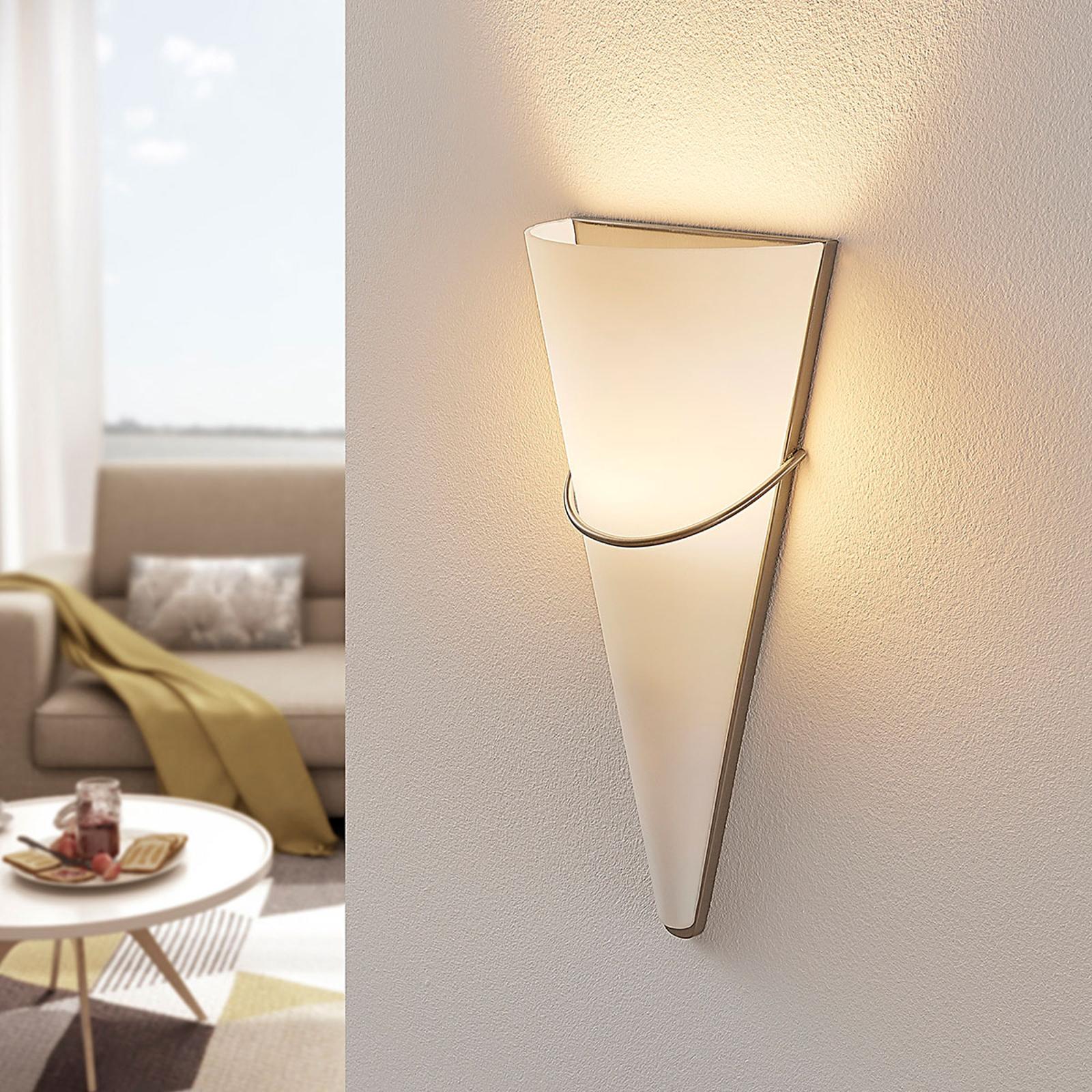 LED-seinävalaisin Melek opaalilasia, nikkeli