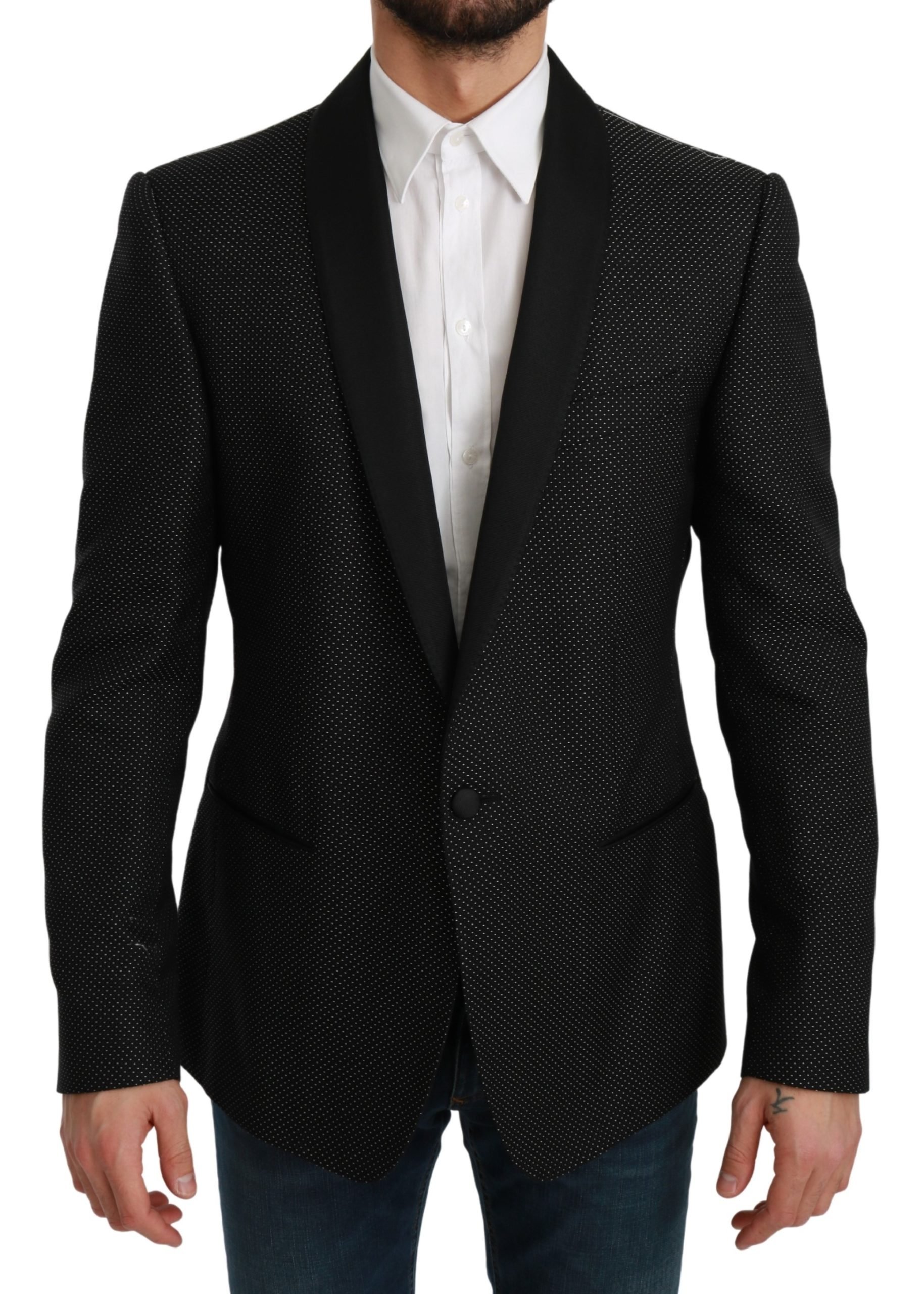 Dolce & Gabbana Men's Slim Fit Formal MARTINI Blazer Black KOS1716 - IT52 | L