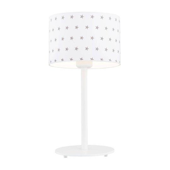 Bordlampe Moa, stoffskjerm hvit/stjerne grå