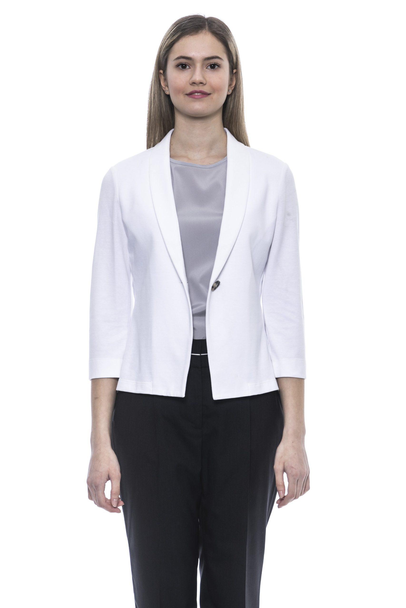 Peserico Women's Bianco Blazer White PE1383309 - IT46 | L