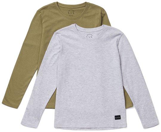 Luca & Lola Abel Langermet T-Shirt 2-pack, Grey Melange/Brown 134-140
