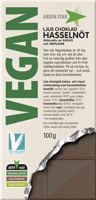 Green Star Vegan Ljus choklad Hasselnöt 100g