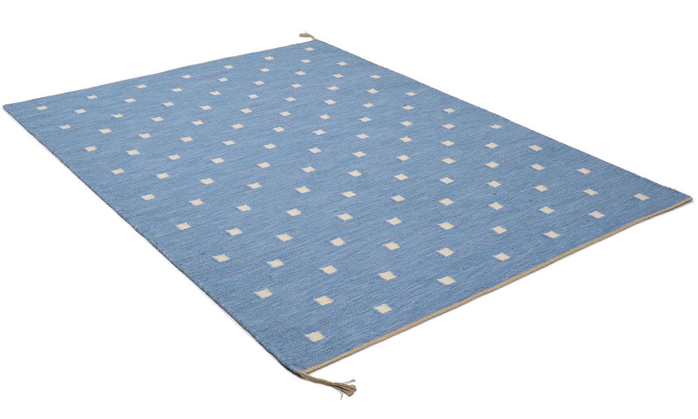 Rosendal lyseblå - håndvevd ullteppe