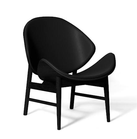 The Orange Lounge Chair Svart läder Svartlackad Ek