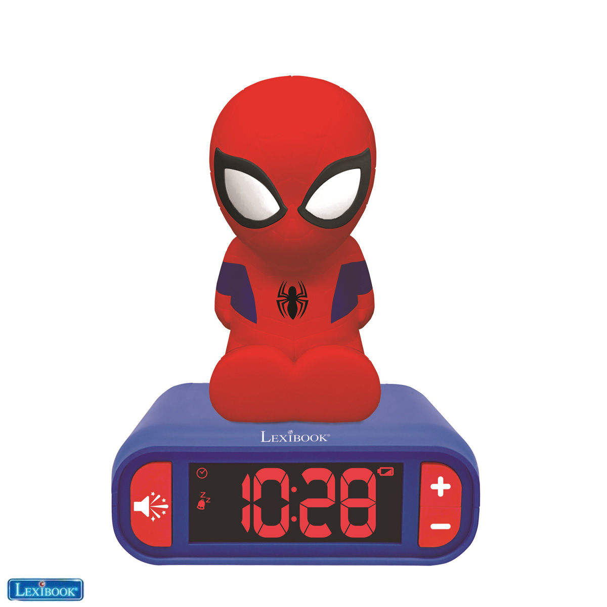 Lexibook - Alarm Clock with Night Light 3D design SpiderMan and sound effects (RL800SP)
