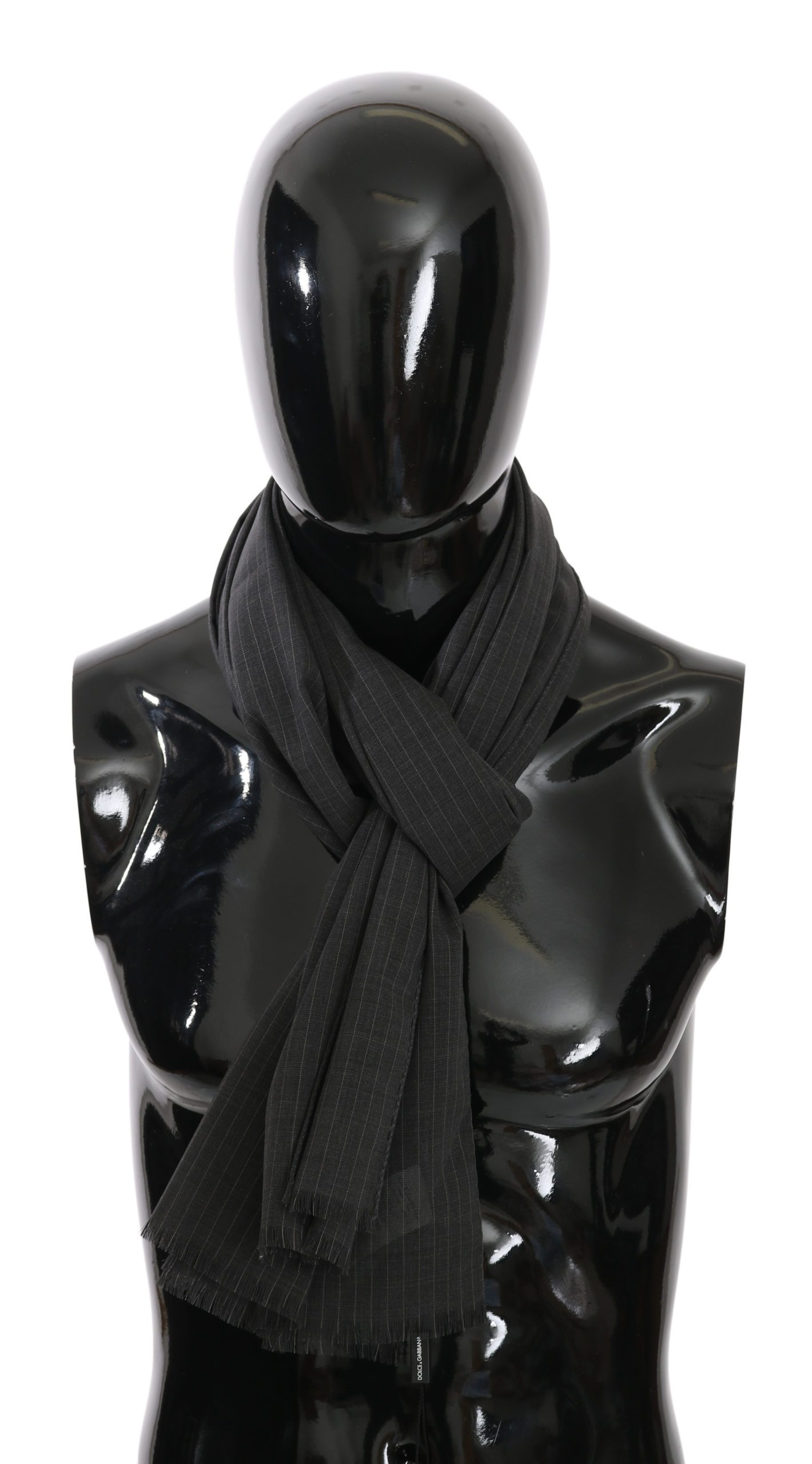 Dolce & Gabbana Men's Striped Silk Scarf Black MS5014BG