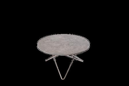 O Table Matbord Rostfritt Stål/Grå Marmor Ø100