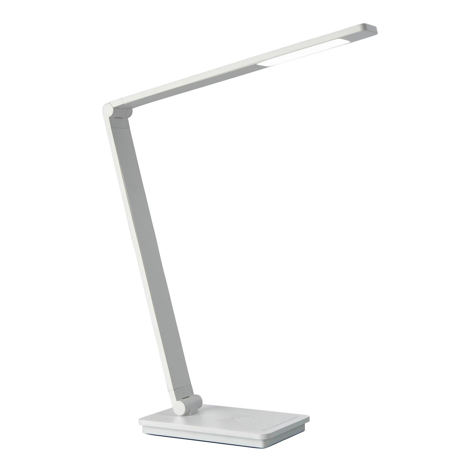 Skrivebordslampe Uli Phone, QI-ladestasjon, hvit