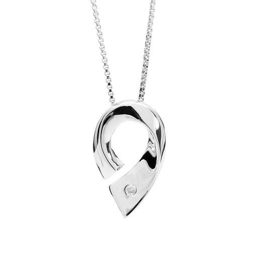 Halsband i äkta silver med diamant