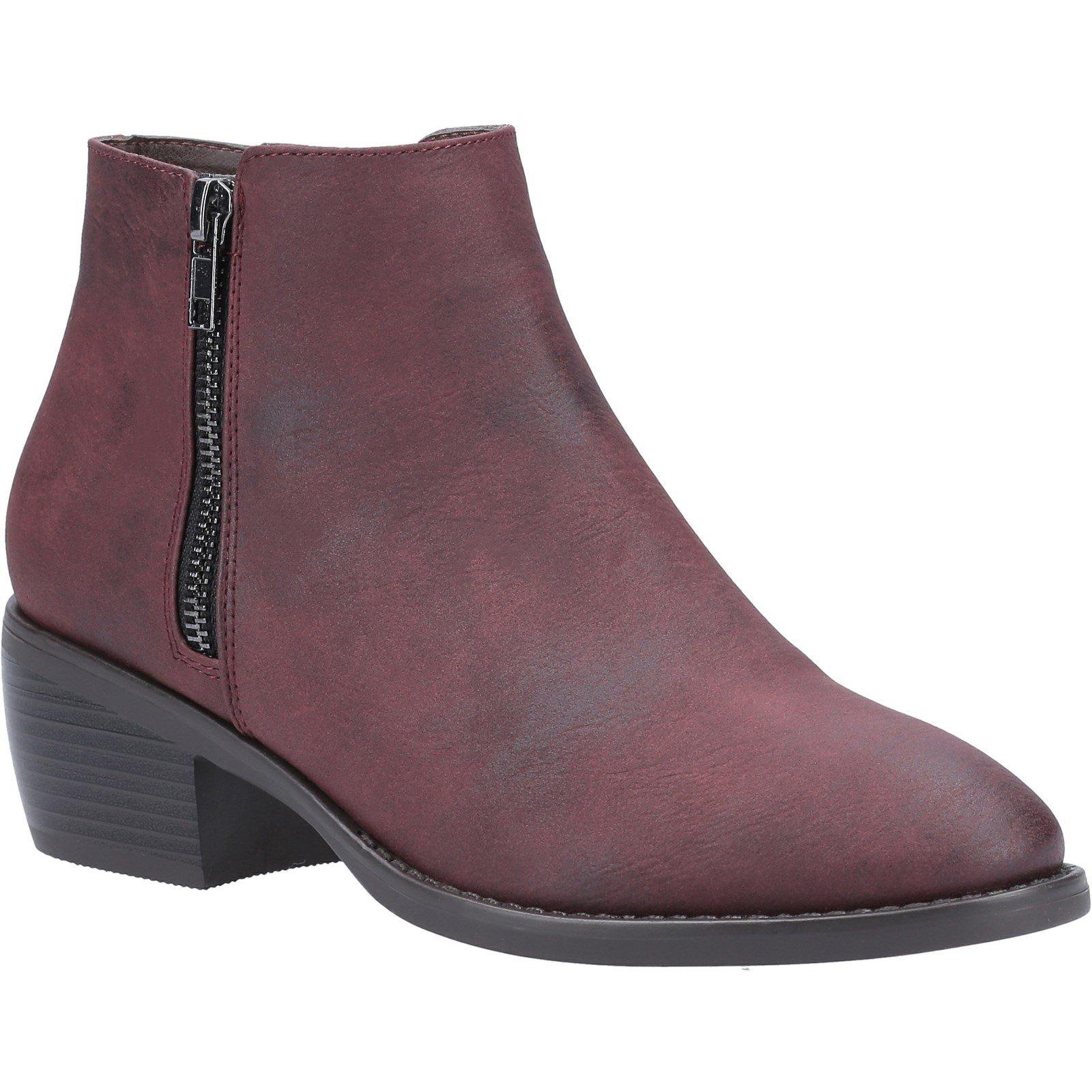 Divaz Women's Ruby Ankle Boot Various Colours 31096 - Burgundy 7